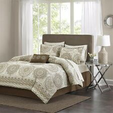 Taupe Floral Comforter Set Includes Sheet Set, Decorative Pillow Shams and Skirt