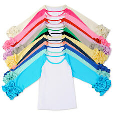 Toddler Baby Girls Long Icing Ruffle Sleeves T-shirt Top Tee Blouse Kids Clothes