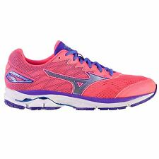 Mizuno Wave Rider 20 Running Shoes Womens Pnk/Silv/Blue Trainers Sneakers
