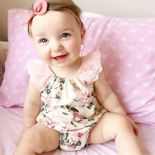 Infant Girl Newborn Baby Shower Party Clothing Set Lace Flower One-Pieces Romper