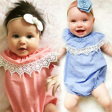 Toddler Infant Baby Newborn Girls Ruffles Lace Neck Bodysuits Jumpsuits Baby