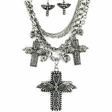 Western Large Winged Cross Pendant with Charms Necklace with Matching Earrings