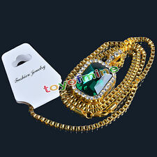 "Mens 14k Gold Plated Iced Out Ruby Octagon Pendant Hip-Hop 24"" Rope Chain"
