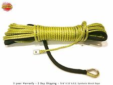 "ARMY GREEN ATV UTV Synthetic Winch Line 1/4""X50' 7000 LBS Cable Line With Sheath"