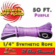 "PURPLE Synthetic Winch Rope Line Cable 1/4"" x50' 7000 LB With Rock Guard For ATV"