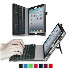 Apple iPad 2/3/4 Removable Bluetooth Keyboard Folio Stand Leather Case Cover