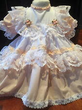 DREAM BABY   ROMANY FRILLY DRESS  PEACH OR REBORN DOLLS NEWBORN TO 6 MONTHS