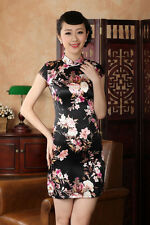 Black Chinese women's silk/satin mini dress Cheongsam Sz: S M L XL XXL