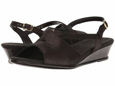 SAS CARESS Womens Space Nero MADE IN THE USA Leather Wedge Sandals