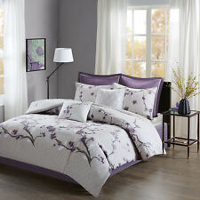 Beautiful Soft Cotton Purple Floral Comforter Bedskirt Cal King Queen 8 pcs set
