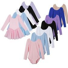Girls Kids Long Sleeve Ballet Dress Gymnastics Dance wear Costume Leotard Dress