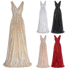 Long Sequins Glitter Evening Party Dress V NECK Formal Prom Bridesmaid Ball Gown