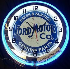 "19"" Double Neon Clock Ford Motor Co. Sales & Service Genuine Parts Chrome Finish"