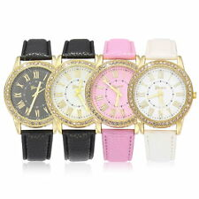 Womens Ladies Fashion Crystal Faux Leather Strap Analog Quartz Wrist Watch PRE