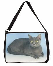 Silver Grey Thai Korat Cat Large Black Laptop Shoulder Bag Christmas G, AC-101SB