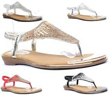 WOMENS FLAT SANDALS DIAMANTE PROM LADIES SLINGBACK HOLIDAY CASUAL PARTY SHOES