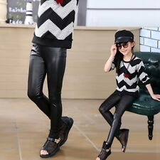 Toddler Baby Girls Stretchy PU Leather Kids Warm Skinny Pants Leggings Trousers