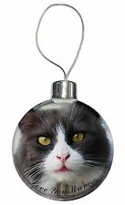 Black and White Cat 'Love You Mum' Christmas Tree Bauble Decoration , AC-80lymCB