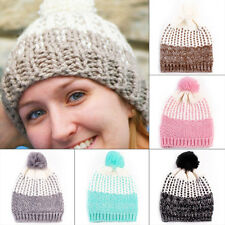 Ladies Womens Winter Warm Wool Knit Crochet Fur Beanie Pom Bobble Ski Hat Cap