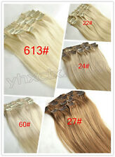 Full Head 7PCS Clip in 100% Remy Human Straight Hair Extensions Blonde Colours