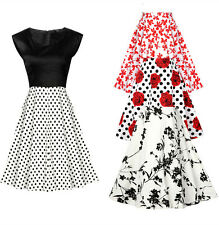 Swing Vintage Dress Womans Rockabilly Petticoat Cocktail Ladies Evening Party