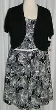 NWT Madison Leigh 20W Black and White Fit and Flare with Sweater Retail $90