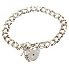 Chunky Double Link 925 Sterling Silver Charm Bracelet With Heart Lock - 3 Sizes