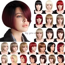 UK Natural Synthetic Hair Wigs Short BOB Full Wig Cosplay Party Fancy Dress  B49