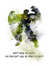 ART PRINT Incredible Hulk Quote illustration, Superhero, Movie, Wall Art, Marvel
