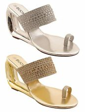 New Womens Slip On Shiny Diamante Party Fashion Casual Heeled Sandals Shoes