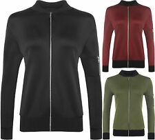 Womens Long Zip Sleeve Plain Stretch Military Coat Top Ladies Bomber Jacket 8-14