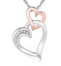 Sterling Silver Cascading Dual Heart Diamond Accented Pendant Necklace .02 ct tw