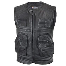 """Xelement Men's """"Task Force"""" Leather Motorcycle Vest with Gun Pockets"""