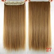 Honey Blonde 150g 5Clips On One Hairpieces Clip In  Real Human Hair Extensions