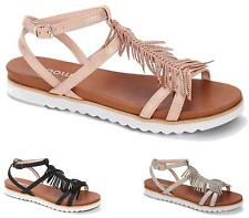 Ladies Gladiator Flat Ankle Buckle T-Bar Tassel Front Summer Peep Toe Sandals