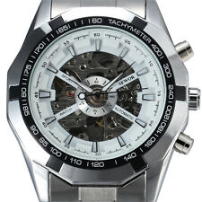 Sewor Stainless Steel Mens Watch Skeleton Mechanical Automatic Fashion gents 740