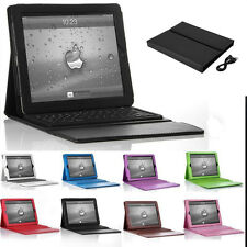 For iPad Bluetooth Wireless Keyboard With Stand Leather Case Cover Protecitve f