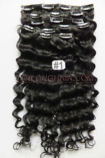 12PCS 280g Deep Wavy Weaving Curly Clip In Real Human Hair Extensions Jet Black