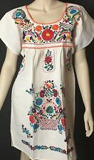 ABOVE KNEE EMBROIDERED MEXICAN DRESS HIPPIE BOHO VINTAGE STYLE 100% MANTA MINI