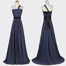 LADIES One Shoulder Dress Chiffon Bridesmaid Ball Gown Evening Prom Party Formal