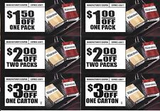 (6) Winston Cigarettes Coupons - $12.50 Total Value - Expires 6/30/17 - Tobacco