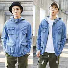 Men's Casual Loose Hooded Pockets Denim Cotton Jeans Cowboy Coat Outwear Jacket