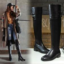 AU Plus Size Knee High Riding Boots New Med Heel Zip Synthetic Women Shoes F087