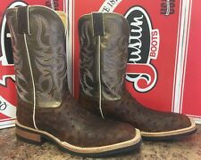 "Men's Exotic Justin 11"" Full Quill Ostrich Square Toe Boots 11.5 B (Narrow)"