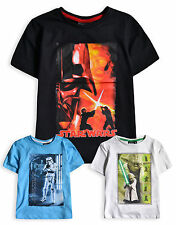 Boys Star Wars Top New Kids Short Sleeved Vader Yoda Cotton T-Shirts 4-10 Years