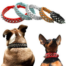 """Spiked Studded Dog Collar PU Leather Pet Puppy Collars Neck for 6-18"""" 5 Colours"""
