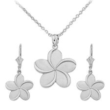 14k White Gold Hawaiian Plumeria Flower Pendant Necklace & Matching Earrings