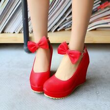 Womens Bowknot High Wedge Heels Platform Pumps Mary Janes Ankle Straps Shoes