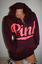 VICTORIAS SECRET PINK MAROON FULLZIP SOFT FLEECE IN MEDIUM LARGE
