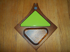 Vtg Mid Century Modern Teak Mod Sere Wood & Green Tile Cheese Serving Tray JAPAN